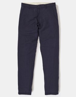 Universal Works – Aston Pant In Navy Summer Pinstripe Linen (Navy)
