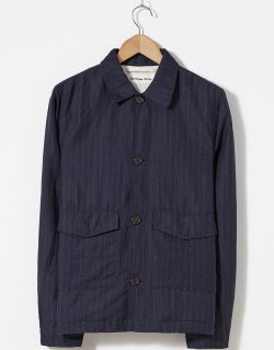 Universal Works – Watchman Jacket In Navy Summer Pinstripe