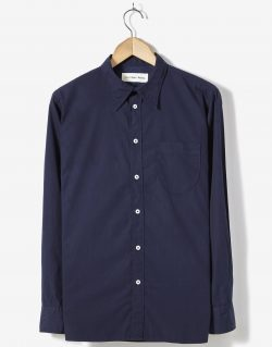 Universal Works – Point Collar Shirt In Navy Poplin