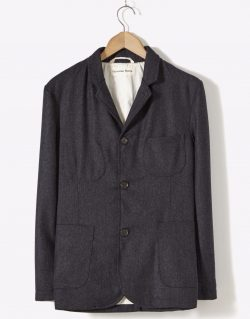 Universal Works Suit Jacket In Charcoal Flannel