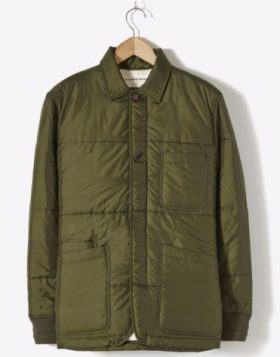 Universal Works – Quilted Backers Jacket in Olive Italian Nylon