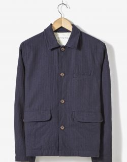 Universal Works Wamus Jacket In Indigo Denim Herringbone