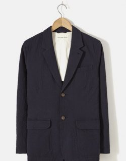 UNIVERSAL WORKS – Two Button Jacket In Navy Seersucker