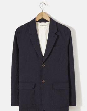 UNIVERSAL WORKS – Two Button Jacket In Navy Seersucker