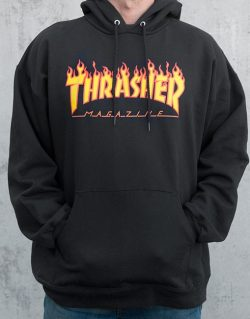THRASHER – Flame Logo Hood (Black)