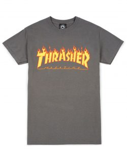 THRASHER – Magazine Flame Logo T-shirt (Charcoal Grey)