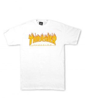 THRASHER – Magazine Flame Logo T-shirt (White)