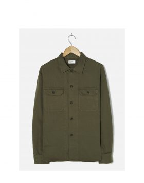 Universal Works – Corps Shirt In Olive Herringbone Cotton