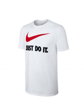 "NIKE Man SPORTSWEAR ""JUST DO IT"" – SWOOSH T-Shirt (White / University Red)"
