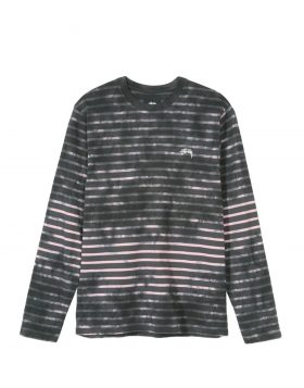 STUSSY – Bleach Stripe L/SL Crew (Charcoal)