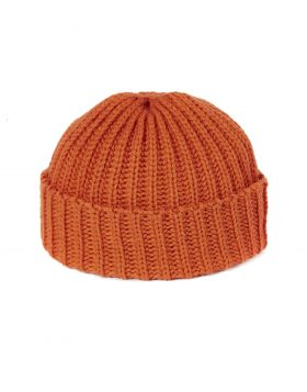 UNIVERSAL WORKS – Short Watch Cap In Orange British Wool