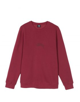 STUSSY – Stock Applique Crew (Wine)