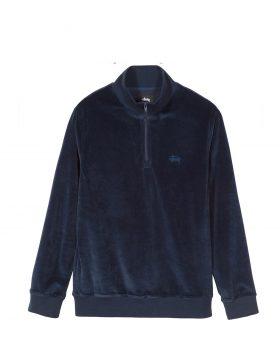 STUSSY – Velour L/SL Zip Mock (Navy)