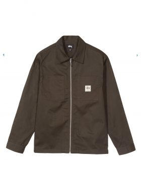 STUSSY – Zip Up work Ls Shirt (Brown)