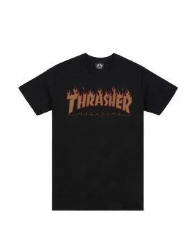 THRASHER – FLAME Halftone Tee (Black)