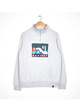 PARRA – Quarter Zip Pullover Mountains of 1987 (Ash grey)