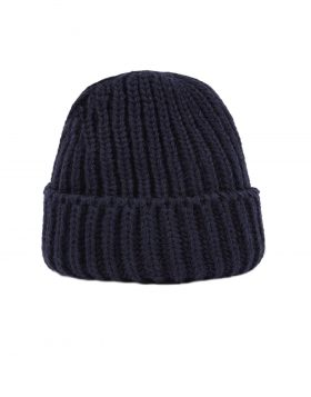 UNIVERSAL WORKS – Short Watch Cap In Navy British Wool/Alpaca