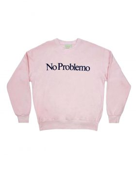 ARIES – No Problemo Flocked Crew Sweat (Pink)