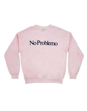 ARIES – No Problemo Flocked Crew Sweat (Pink)