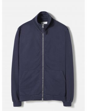 UNIVERSAL WORKS – Zip Through in Navy Diag Loopback