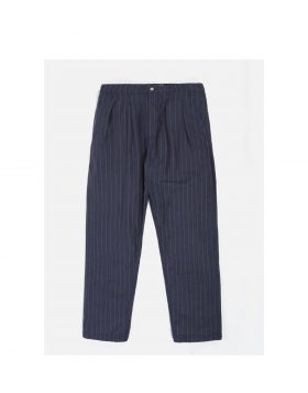 UNIVERSAL WORKS – Double Pleat Pant in Blue Linen Wool Stripe