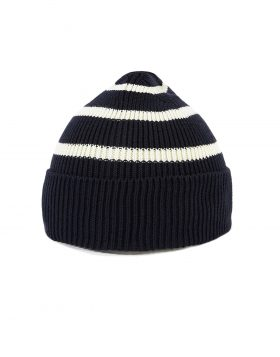 UNIVERSAL WORKS – Coast Watch Cap in Navy/Ecru Stripe Knit