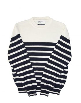 UNIVERSAL WORKS – Coast Stripe Crew Knit in Navy Ecru