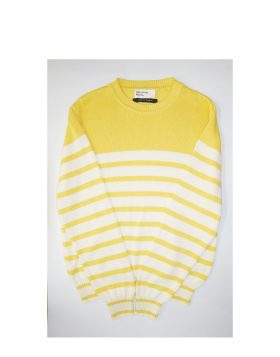 UNIVERSAL WORKS – Coast Stripe Crew Knit in Sunshine Ecru