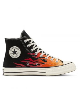 CONVERSE – Chuck 70 Archive Print High Top (Black/Enamel Red/Bold Mandarin)