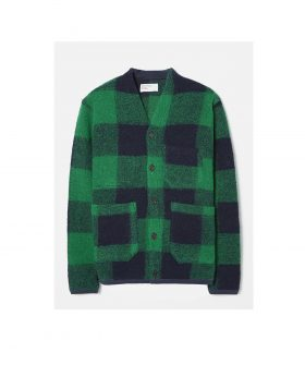 UNIVERSAL WORKS – Cardigan in Wool Fleece (Check Green)