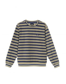 STUSSY – Striped Polar Fleece Crew Man (Olive)