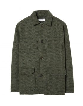 UNIVERSAL WORKS – Labour Jacket in Check 3D Tweed (Olive)