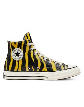 CONVERSE – Unisex Leather Archive Prints Chuck 70 High Top (Vivid Sulfur/Black/Egret)