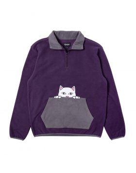 RIPNDIP – Peeking Nerm Brushed Fleece Half Zip Sweater (Purple/Grey)