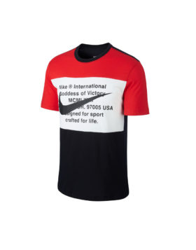 NIKE – Sportswear Swoosh Men's T-Shirt (Black/University Red/White)