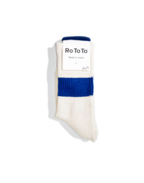 "RoToTo – Classic Crew Socks ""silk cotton"" (Ivory/Blue)"