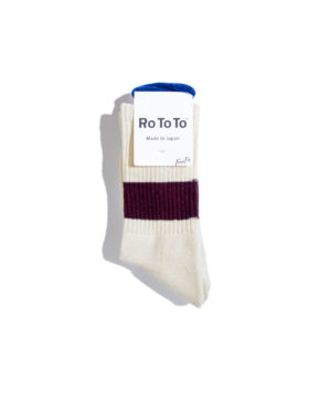 "RoToTo – Classic Crew Socks ""silk cotton"" (Ivory/Burgundy)"