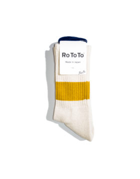 "RoToTo – Classic Crew Socks ""silk cotton"" (Ivory/D.Yellow)"