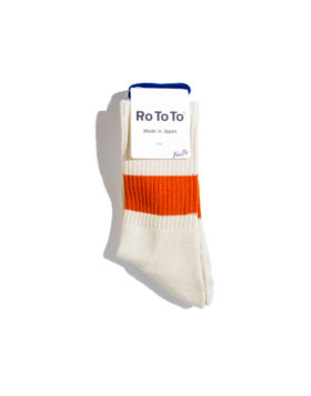 "RoToTo – Classic Crew Socks ""silk cotton"" (Ivory/Orange)"