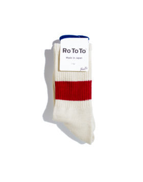 "RoToTo – Classic Crew Socks ""silk cotton"" (Ivory/Red)"