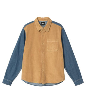 Stüssy – Cord Denim Mix Shirt (Khaki)