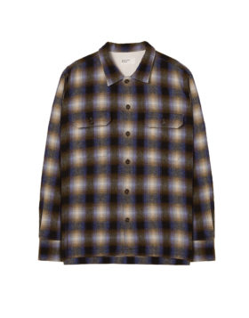 Universal Works – Utility Shirt Texas Wool Plaid (Navy Check)