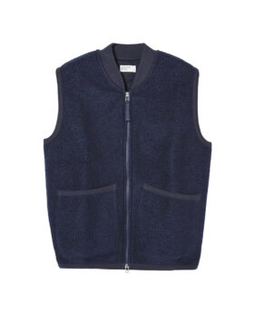 Universal Works – Zip Waistcoat Wool Fleece (Navy)