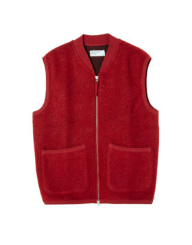 Universal Works – Zip Waistcoat Wool Fleece (Red)