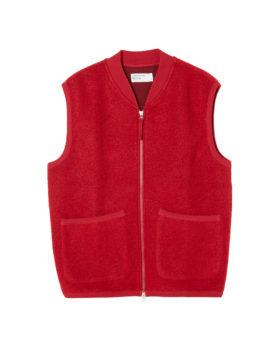 Universal Works – Zip Waistcoat Wool Fleece (Red)