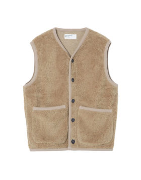 Universal Works – Lancaster Gilet Mountain Fleece (Sand)