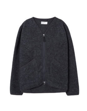 Universal Works – Zip Liner Jacket in Wool (Charcoal)