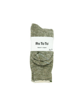 RoToTo – Double Face Crew Socks (Army Green)