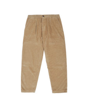 Universal Works – Pleated Track Pant in Cord (Taupe)