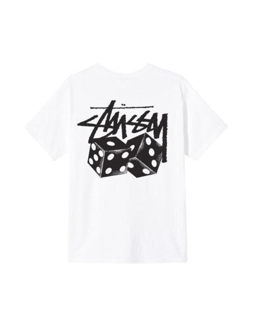 maglietta bianca stussy dadi